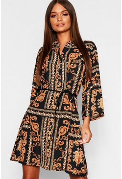Womens Chain Print Tie Waist Shirt Dress