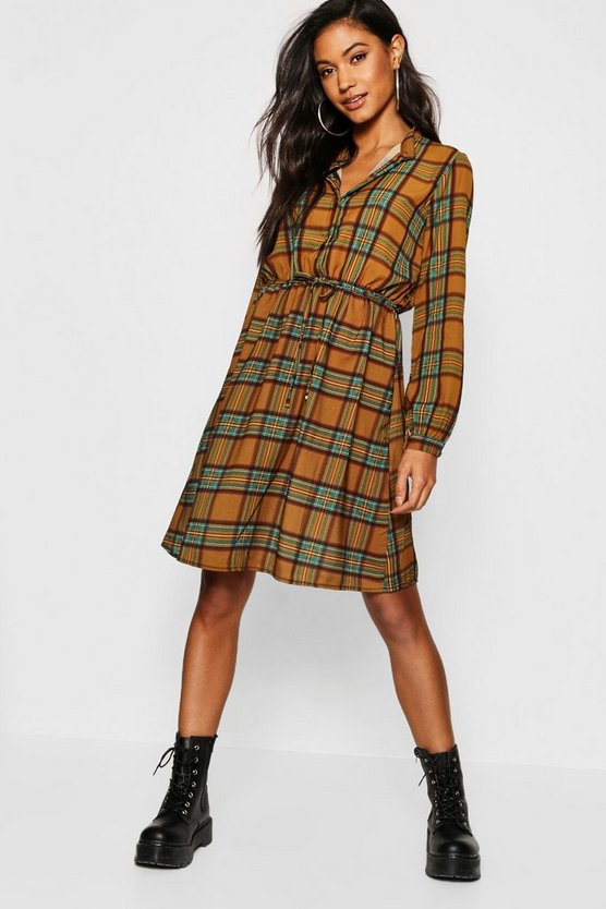 Womens Mustard Checked Skater Shirt Dress