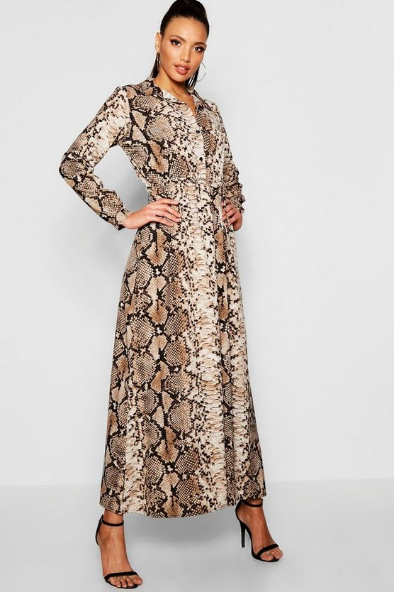 Womens Taupe Snake Print Maxi Shirt Dress