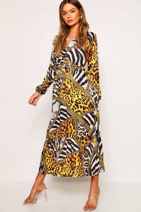 Womens Black Leopard Chain Print Maxi Dress
