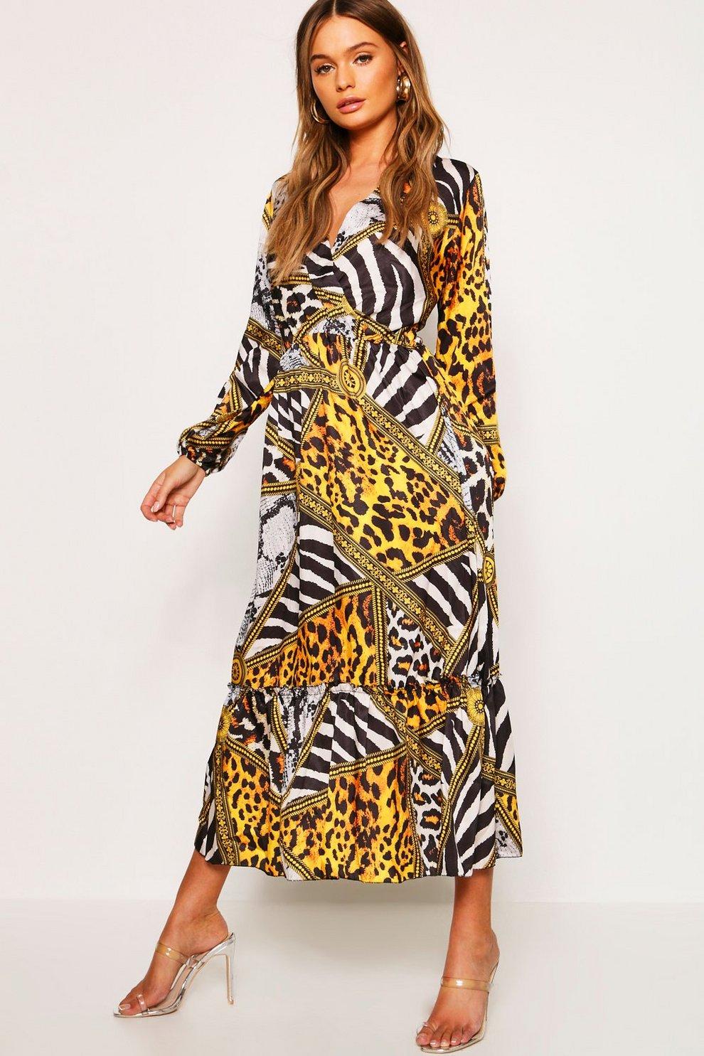 e4f13651fa Vestido largo con estampado de cadena y leopardo