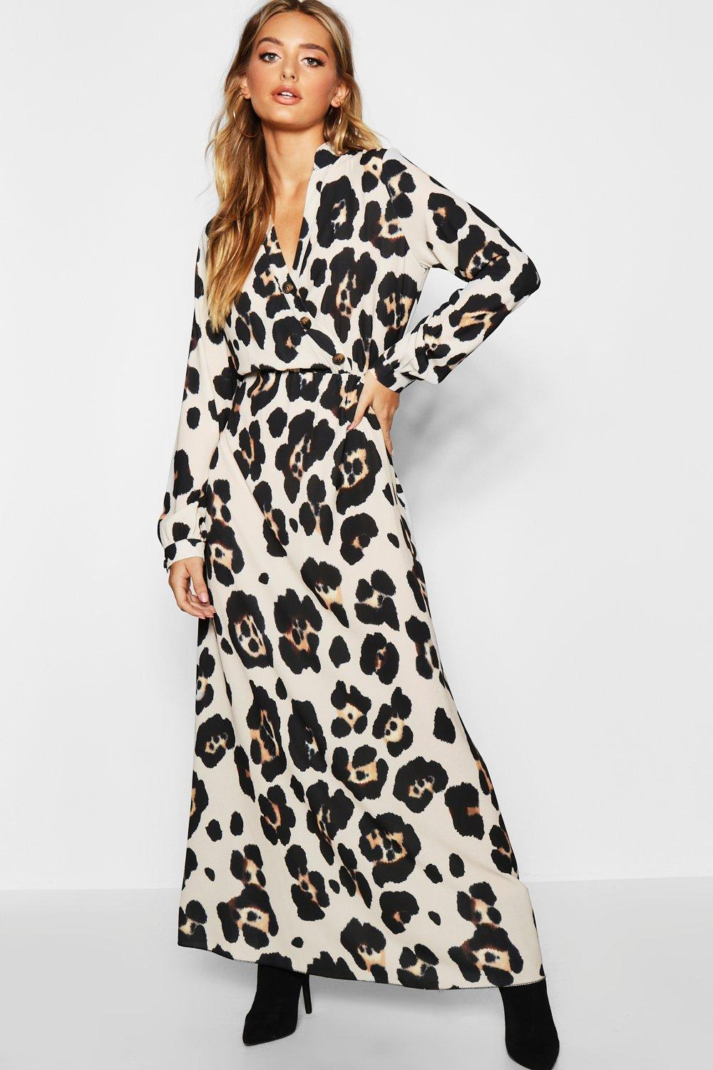 ba30ac1eeaaab3 Leopard Print Maxi Shirt Dress
