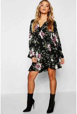 Womens Black Floral Ruffle Detail Tea Dress