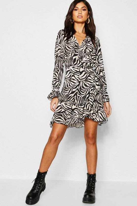 Zebra Ruffle Detail Tea Dress