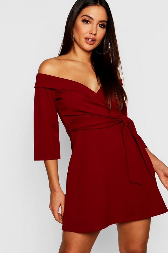 Womens Berry Tie Waist Slight Off Shoulder Shirt Dress
