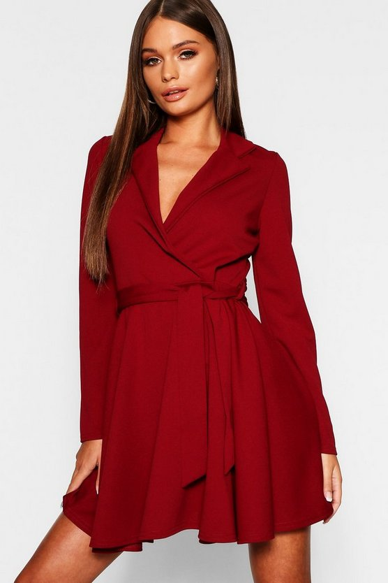 Womens Berry Tie Waist Skater Shirt Dress
