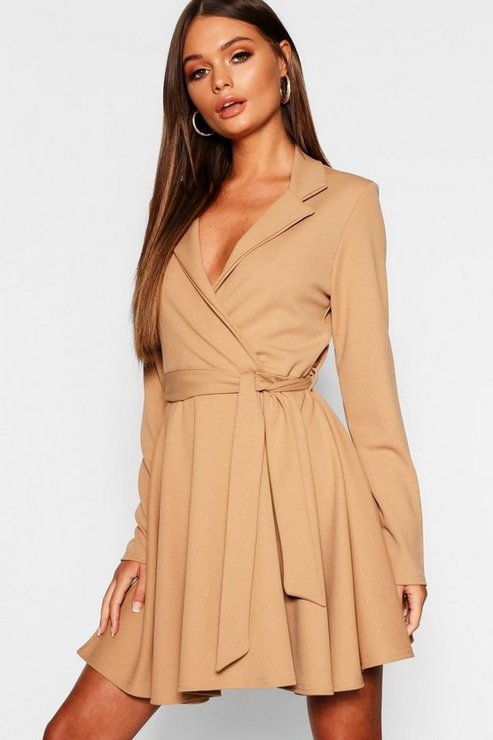 Tie Waist Skater Shirt Dress