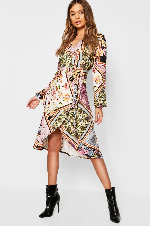 Floral Print Wrap Front Midi Dress