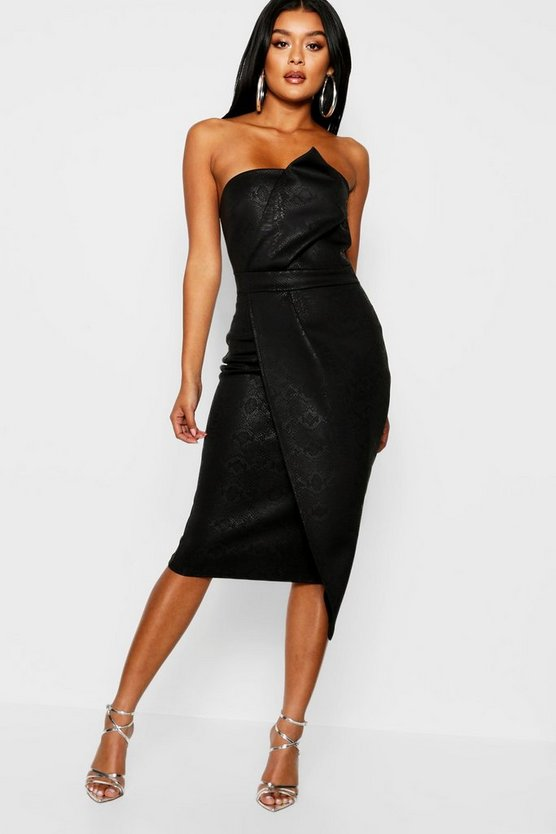 Black Animal Print Bandeau Wrap Midi Dress