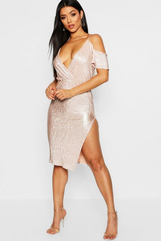 Metallic Cold Shoulder Midi Dress
