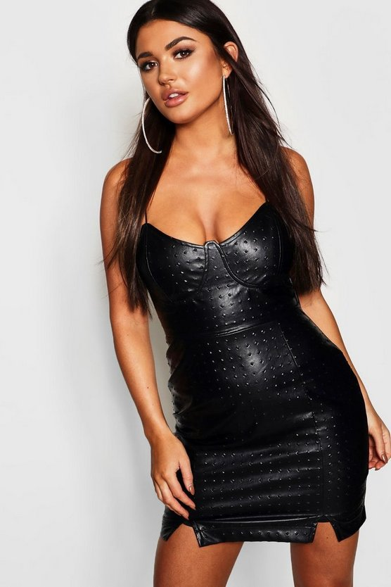 PU Bustier Detail Bodycon Dress