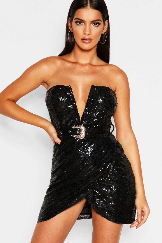 Womens Sequin Bandeau Wrap Skirt Bodycon Dress