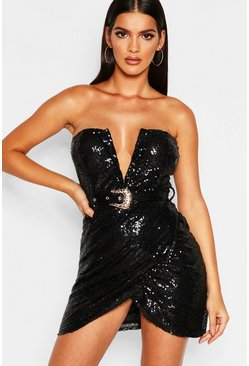 Womens Black Sequin Bandeau Wrap Skirt Bodycon Dress