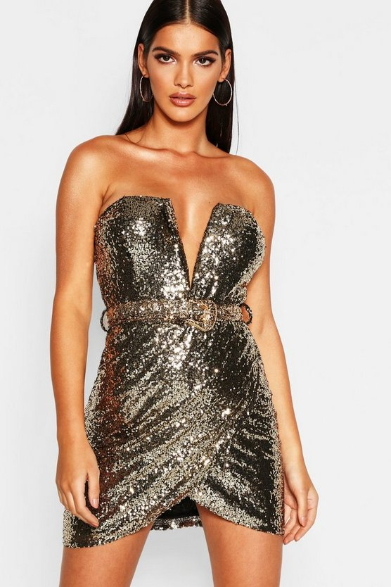 Sequin Bandeau Wrap Skirt Bodycon Dress