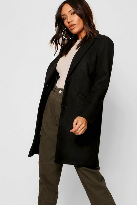 Womens Tailored Boyfriend Wool Look Coat