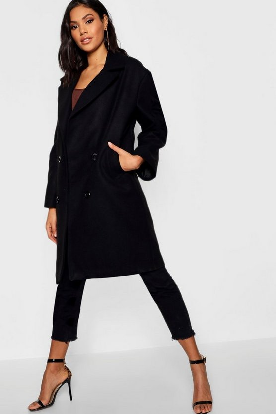 Oversized Double Breasted Wool Look Coat