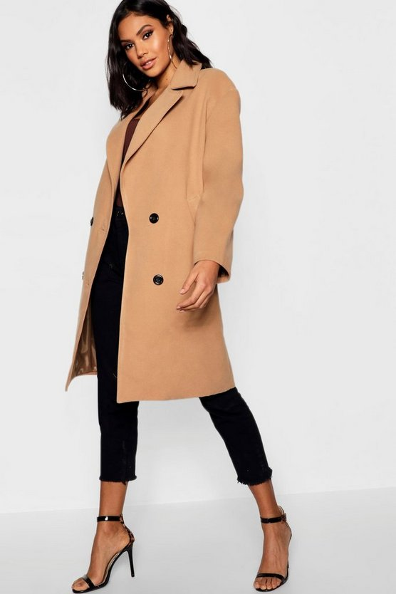Womens Camel Oversized Double Breasted Wool Look Coat