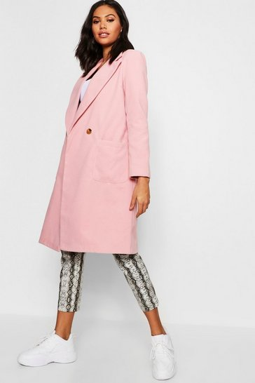 Womens Dusky pink Double Breasted Pocket Wool Look Coat