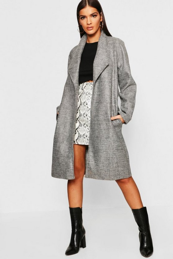 Belted Shawl Collar Wool Look Coat