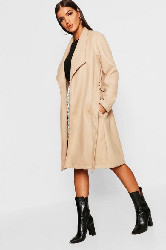 Womens Belted Shawl Collar Wool Look Coat