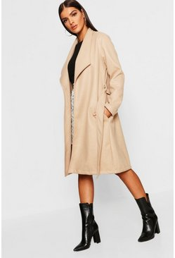 Womens Stone Belted Shawl Collar Wool Look Coat