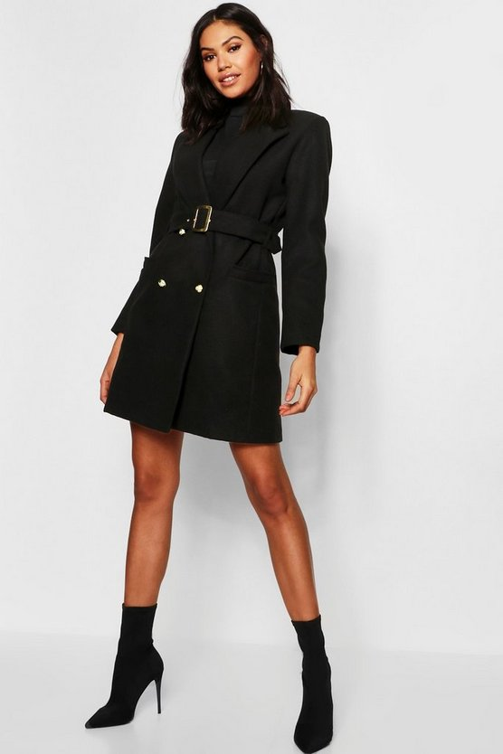 Black Military Double Breasted Wool Look Coat