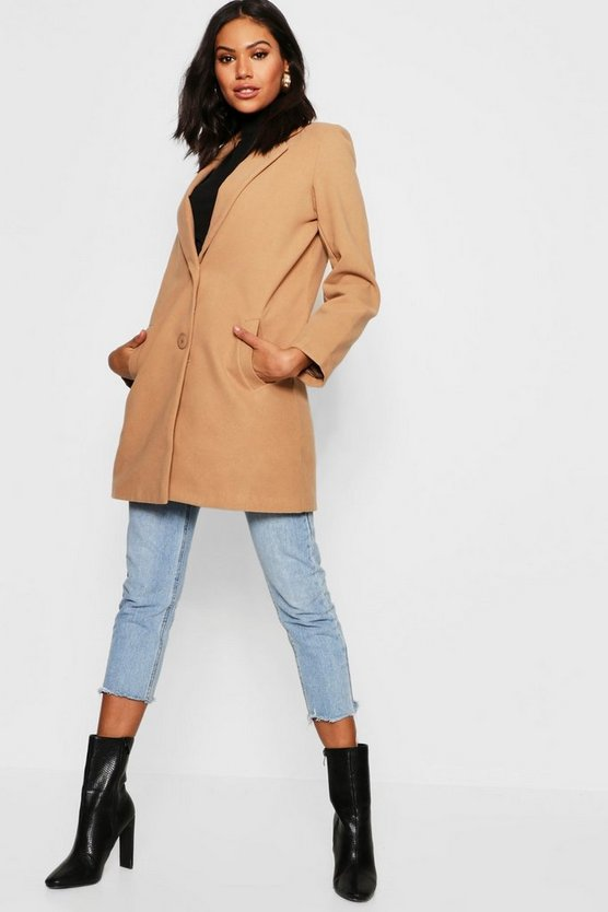 Relaxed Boyfriend Wool Look Coat