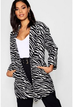 Womens Black Zebra Print Oversized Wool Look Coat