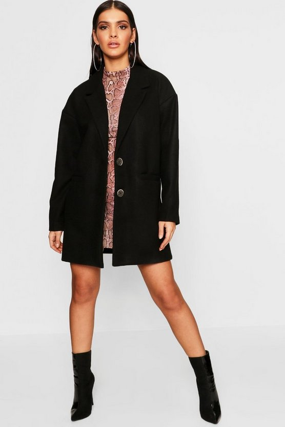 Womens Black Oversized Boyfriend Wool Look Coat