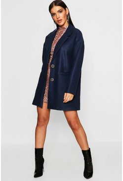Womens Navy Oversized Boyfriend Wool Look Coat