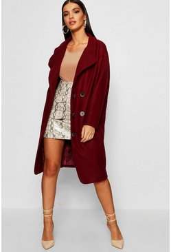 Womens Burgundy Oversized Double Breasted Longline Wool Look Coat