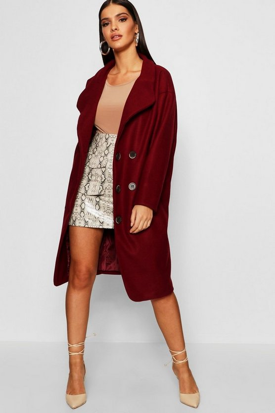 Womens Oversized Double Breasted Longline Wool Look Coat