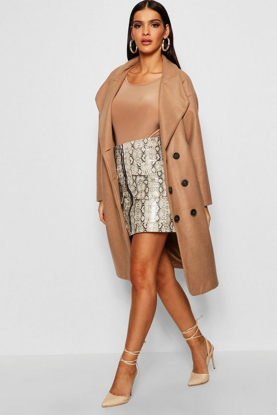 Oversized Double Breasted Longline Wool Look Coat by Boohoo