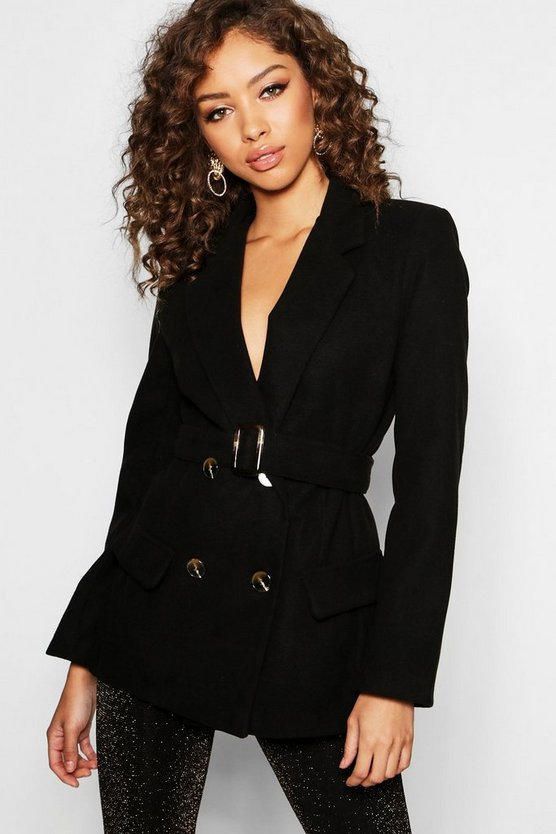 Black Horn Buckle Belted Wool Look Coat