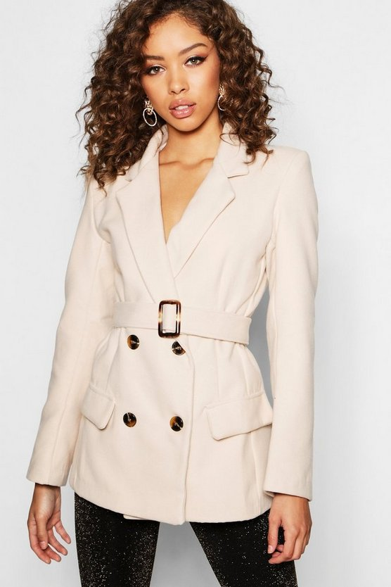 Womens Stone Horn Buckle Belted Wool Look Coat