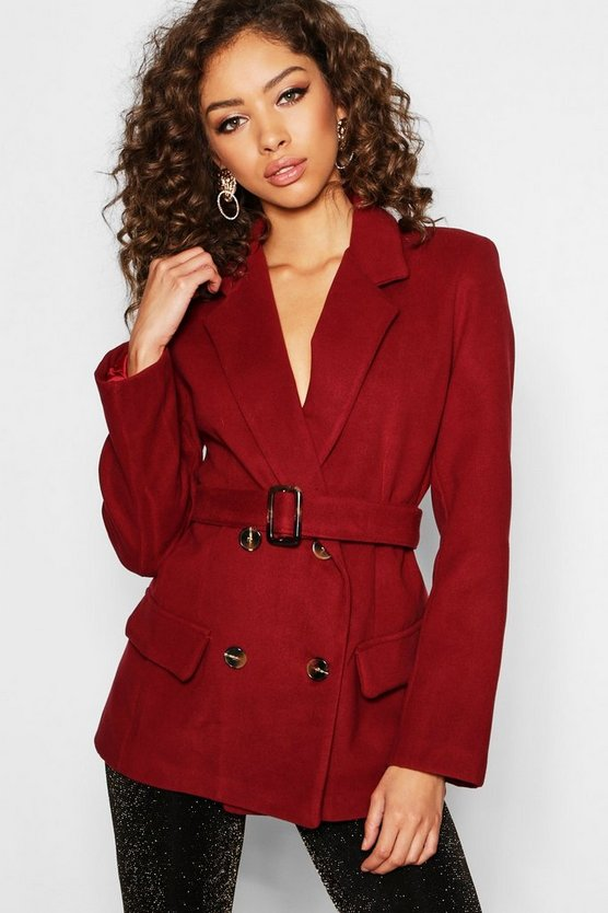 Womens Wine Horn Buckle Belted Wool Look Coat