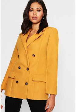 Womens Mustard Double Breasted Wool Look Blazer