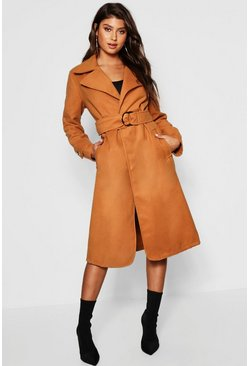 Womens Camel Gold Buckle Belted Wool Look Coat