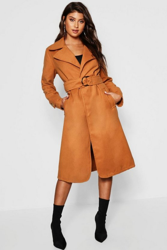 Gold Buckle Belted Wool Look Coat