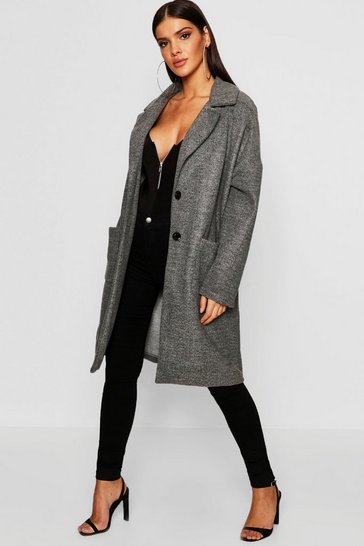 Womens Pocket Detail Wool Look Coat