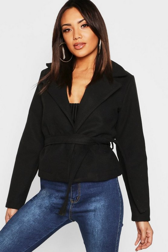 Womens Black Crop Belted Wrap Wool Look Coat