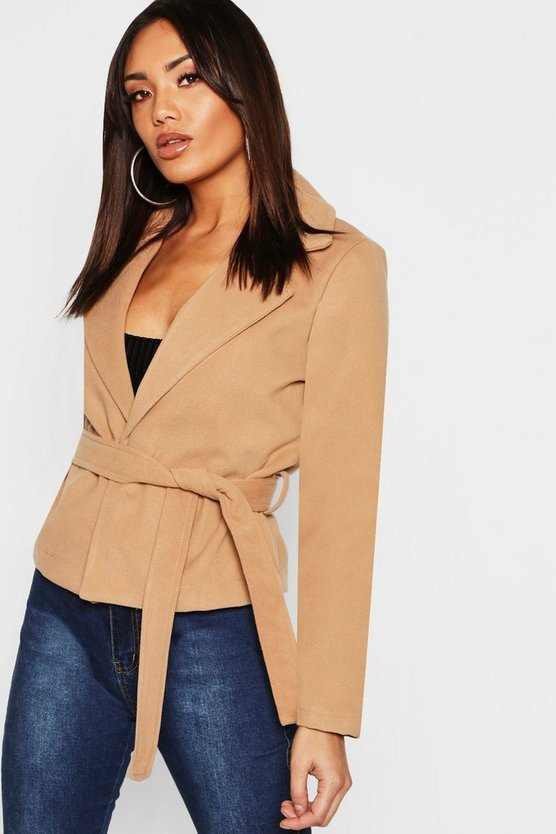 Crop Belted Wrap Wool Look Coat