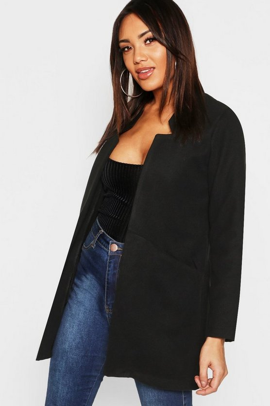 Black Notch Neck Wool Look Coat