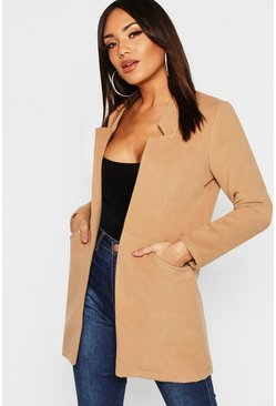 Notch Neck Wool Look Coat, Camel, Женские