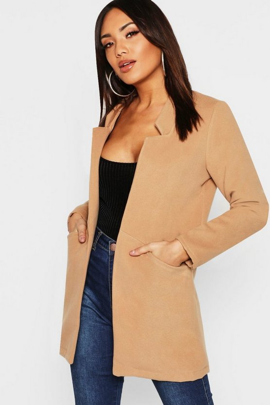 Womens Camel Notch Neck Wool Look Coat