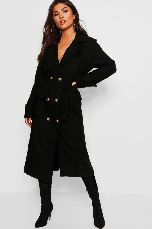 Longline Belted Pocket Wool Look Coat
