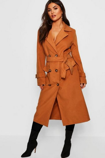 Womens Camel Longline Belted Pocket Wool Look Coat