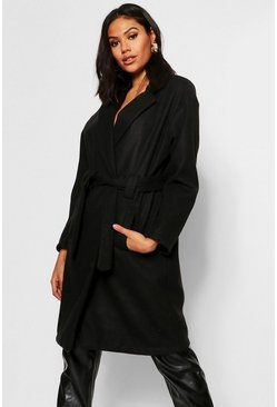 Womens Black Horn Button Belted Wool Look Coat