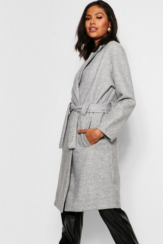 Horn Button Belted Wool Look Coat