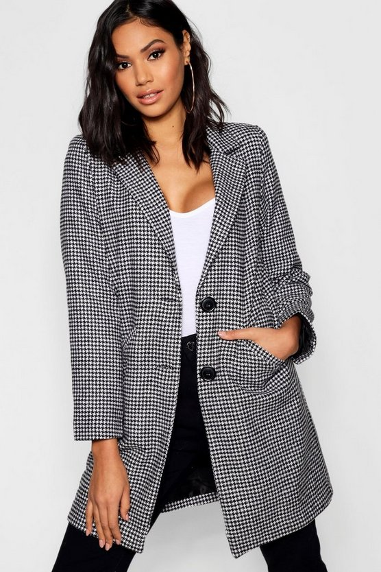 Dog Tooth Wool Look Coat